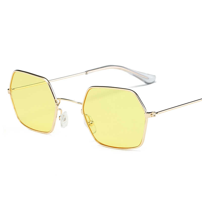 Fashion Hexagon Platz Klar Sonnenbrille Frauen Marke Designer Männer Vintage Metall Rahmen Spiegel Optische sonnenbrille UV400