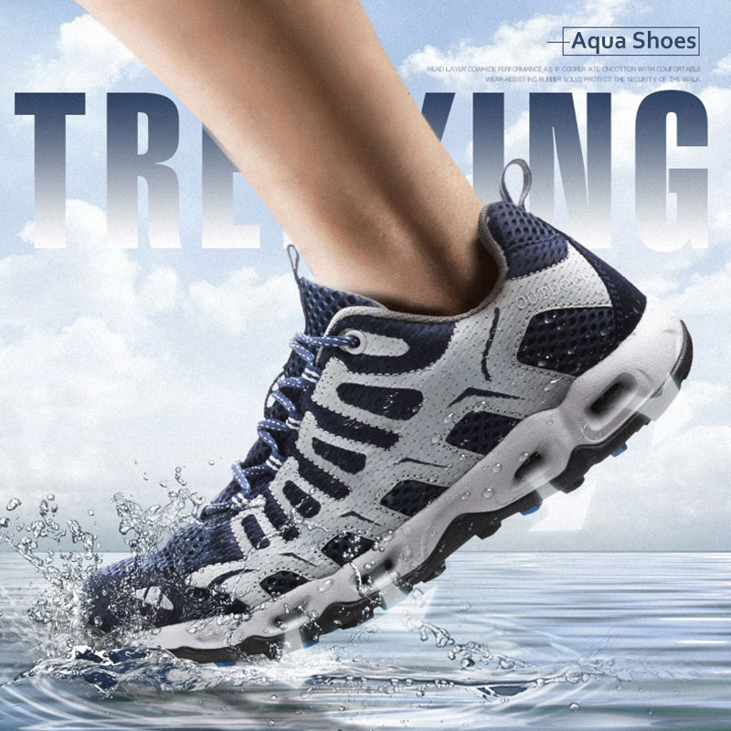 Outdoor Sports Upstream Aqua Shoes Air Mesh Men Fishing Swim Water Beach Shoes Nonslip Hiking Wading Shoes Travel Women Sneakers