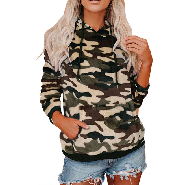 Casual Hoodies, Long Sleeve Front Pocket Drawstring Leopard/camo 5