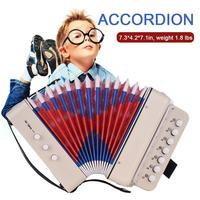 Children Accordion Seven Keys With 3 Air Valve Toy Accordions Musical Instrument For Early Childhood Teaching