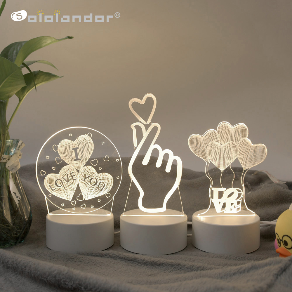 SOLOLANDOR 3D โคมไฟ LED 3D ไฟ LED กลางคืน Novelty ILLUSION Night โคมไฟ 3D ILLUSION ตารางโคมไฟสำหรับตกแต่งบ้าน LIGHT