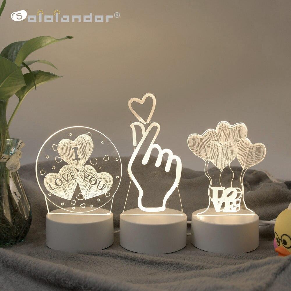SOLOLANDOR 3D LED lamba yaratıcı 3D LED gece işıkları yenilik Illusion gece lambası 3D Illusion masa lambası ev dekoratif ışık