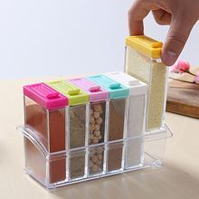 Transparent Spice Storage Containers, Set Of 6 Seasoning Shaker Jars Kitchen Condiment Bottles With