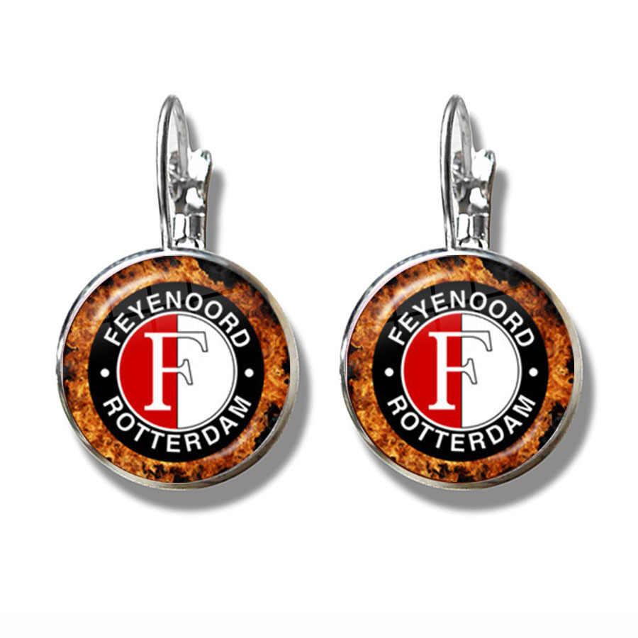 Feyenoord Rotterdam Küpe Futbol Kulübü Logosu Kristal Takı Aksesuarları Kulak Döngü fanus camı Cabochon Küpe Kadınlar Hediye Için