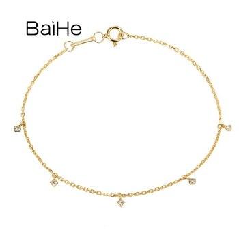 BAIHE Solid 18K Yellow/Rose/White Gold 0.11ct H/SI Natural Diamond Wedding Pulsera Trendy Fine Jewelry Bracelet Women Armband