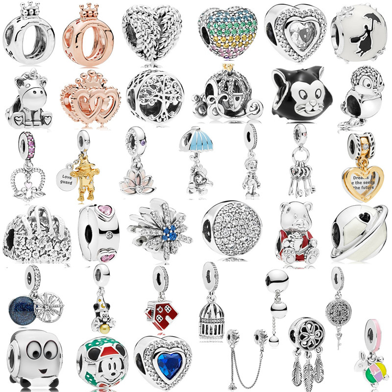 Couqcy Special Mickey Train Love Crown Car Dreamcatcher Charms Beads Fit Pandora Bracelet Necklace Women DIY Jewelry Accessories(China)