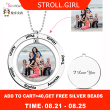 StrollGirl Personalized Custom Color Photo Engraved Necklace 925 Sterling Silver Circle Suspensions Memorial Necklaces Mom Gifts personalized necklaces 925 sterling silver engraved necklaces diy personalized jewelry family children mother pendants necklace