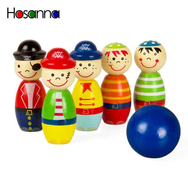 6PCS Pirates Wooden Doll Set Mini Bowling Figures Indoor Toy Kids Ball Fun Development Game Educational Toys for Children Gift