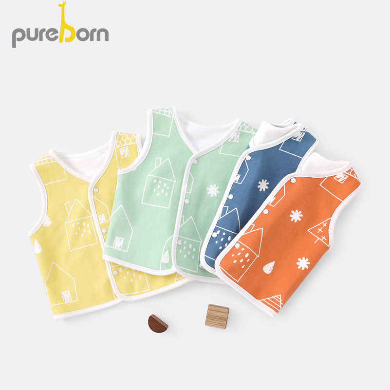Pureborn Spring Autumn Baby Vest Cotton Baby Waistcoat Toddler Light Vest For Girl Boy Kids Clothes Jacket Outwear