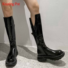 Equestrian-Boots Platform Krazing-Pot Real-Cow-Leather Heel Coolest Thigh Zipper L21