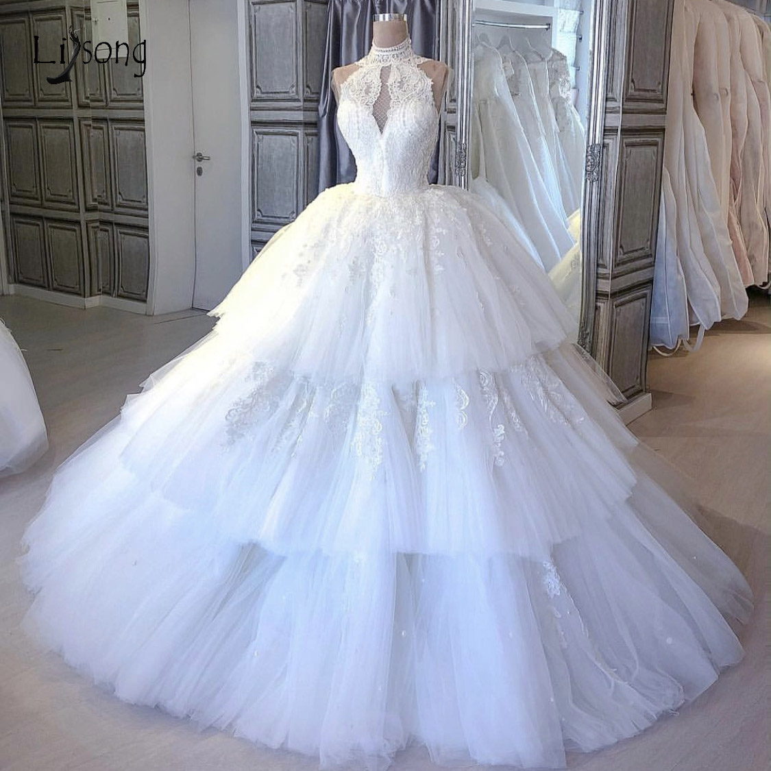 Real Picture Pretty Tutu Puffy Lace Wedding Dresses Appliques Ruffles Tiered Ball Gowns Princess Bridal Gowns Vestido De Noiva