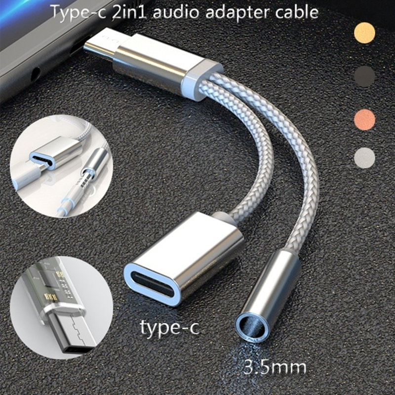 2in1 Type-c Usb Audio Adapter TYPE-C To 3.5mm Jack Headphone Converter Music Charging Adapter Charging For Samsung Huawei Xiaomi