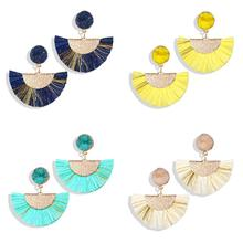1 Pair Retro Bohemian Women Luxury Colorful Long Earring Handmade Geometric Fringe Earrings