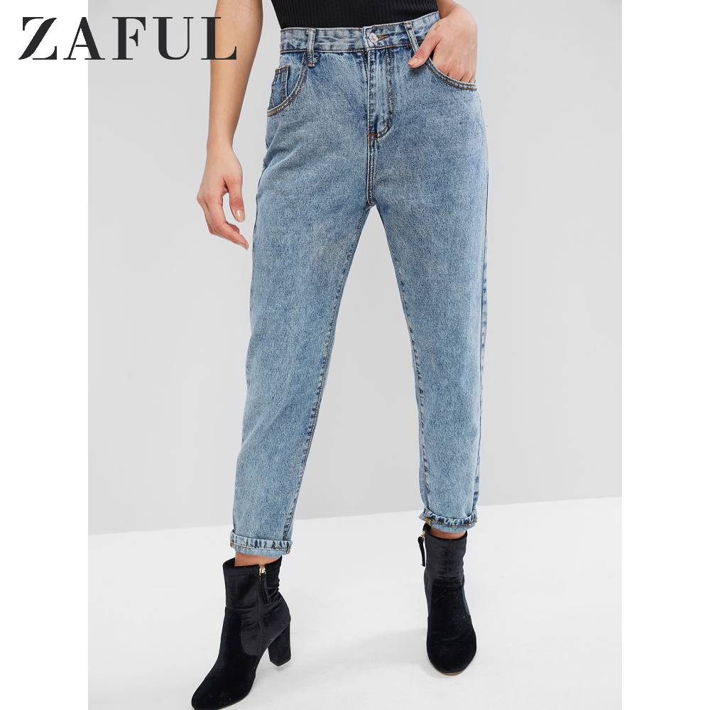 ZAFUL High Waisted Mom Jeans Straight Jeans Medium Wash Pocket Embellishment Women'S Jeans Casual Denim Blue 2019 Fall SML Size