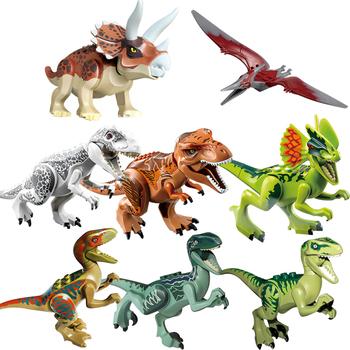 Park dinozaurów jurajski Indominus Rex DIY bloki dinozaury Tyrannosaurus Rex modele klocki dla dzieci twórca zwierząt tanie i dobre opinie Datgo CN (pochodzenie) Unisex 3 lat Mały budynek blok (kompatybilne z Lego) Certyfikat T52010281118TY 77001 77010 BLOCKS