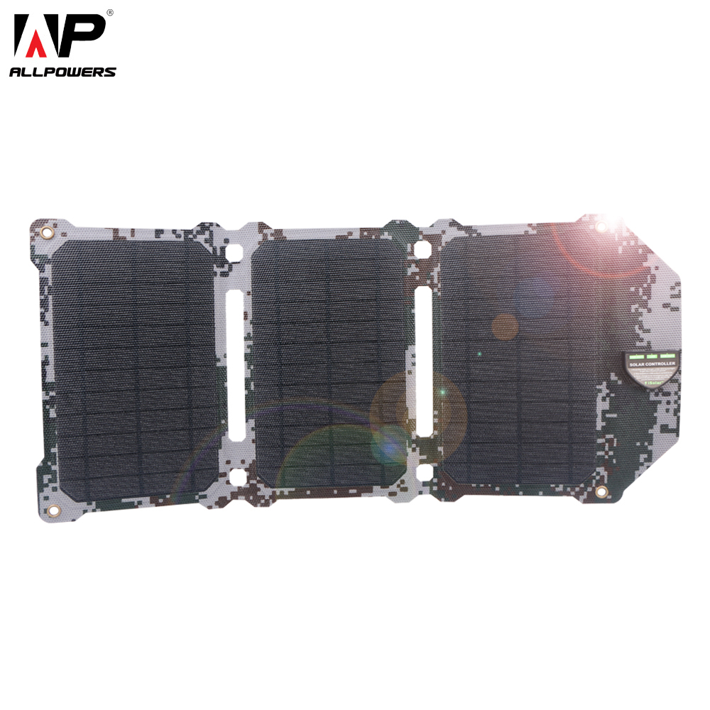 ALLPOWERS Newest 21W Solar Panel Solar Cells Dual USB Solar Charger Batteries Phone Charging For Sony Phone IPad