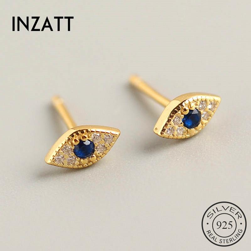 INZATT Real 925 Sterling Silver Minimalist  Zircon Eye Stud Earrings For Fashion Women Party Trendy Fine Jewelry Accessories