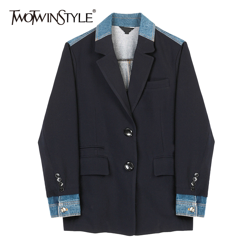 TWOTWINSTYLE Loose Fit Spliced Mixed Color Denim Jacket New Lapel Neck Long Sleeve Women Coat Fashion Tide Autumn Winter 2019
