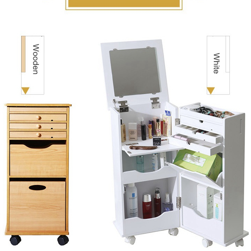 White Mini Dressing Table Set Bedroom Small Folding Clamshell Mobile Makeup Cabinet Table With Drawer Mirror Surprise Gift
