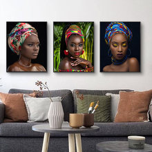 Современный Африканский тюрбан Обнаженная женщина Картина на