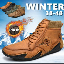 Мужские зимние ботинки размера плюс; Ботинки из спилка; ботинки;