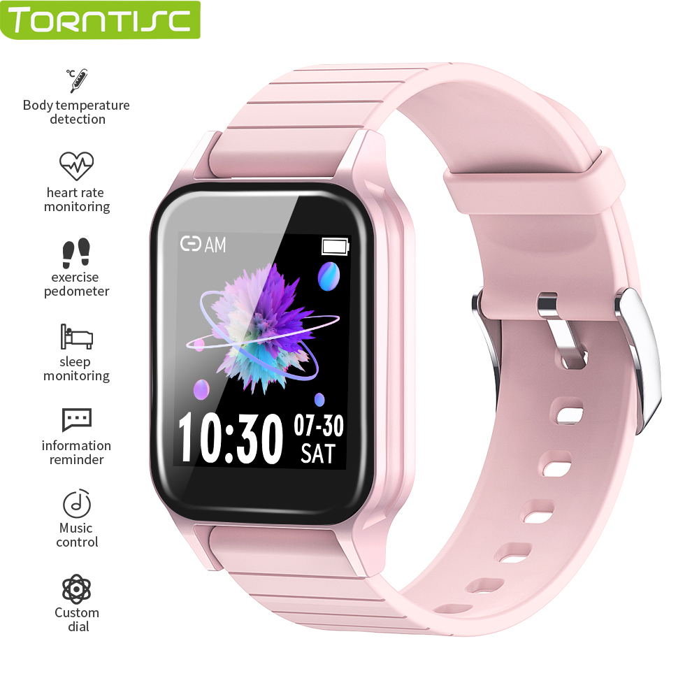 Torntisc T96 Temperature Customized Watchfaces Smart Watch Men Women Heartrate Blood Pressure Monitor Smartwatch For Android iOS