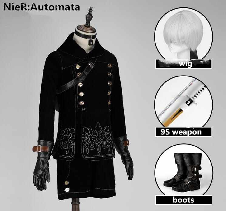 NieR: Automata Cosplay Dress 9S Uniforms Full Set With Weapon+Wig+Shoes For Man Halloween Party Cosplay Costume