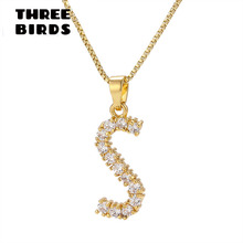 Tiny Trendy Cubic Zirconia Crystal Gold Inital Letter Pendant Necklace Luxury Design Charm For Women And Girls Jewelry
