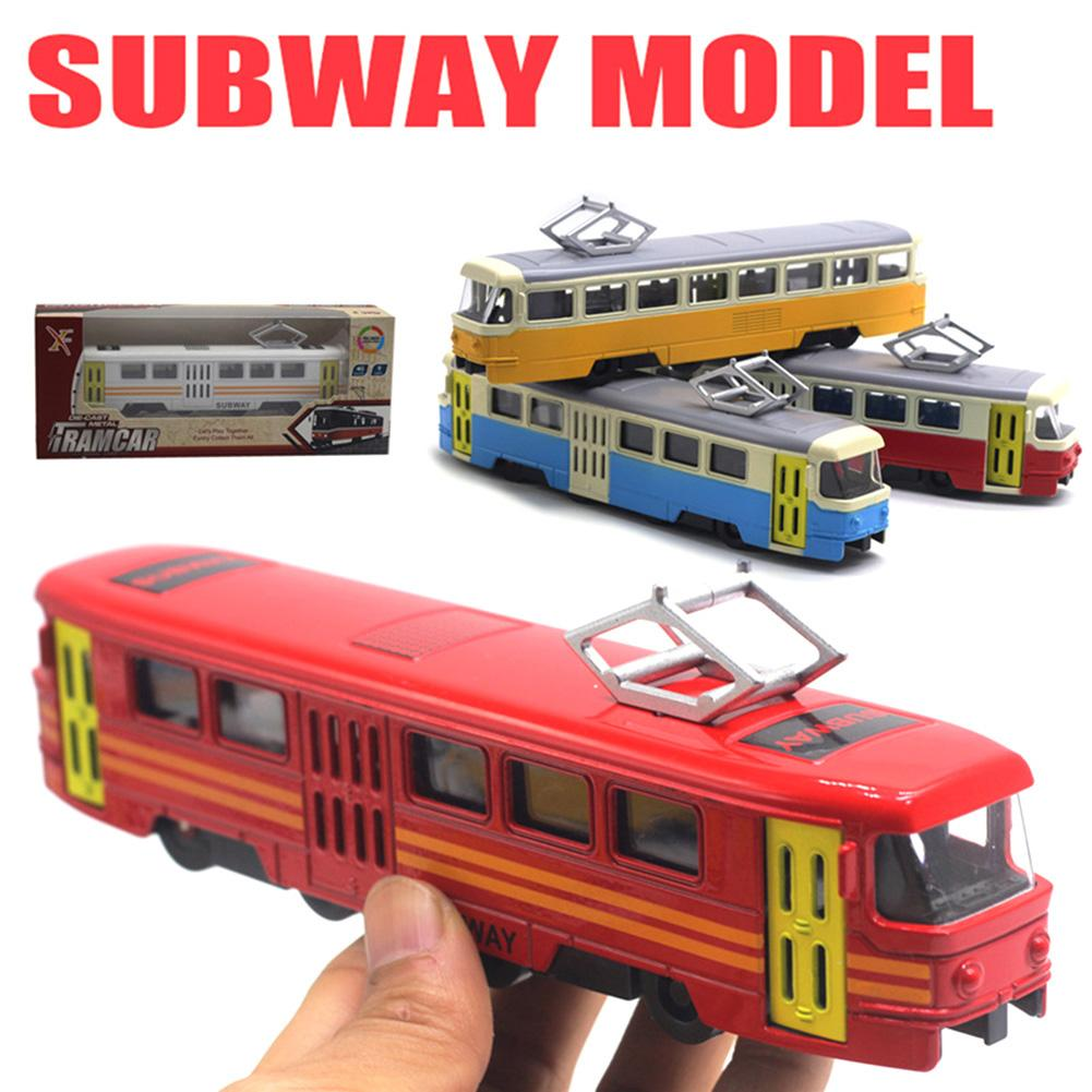 Classic Train Tram Diecast Pull Back Model with LED Music Developmental Kids Educational Toys for Children Gift(China)