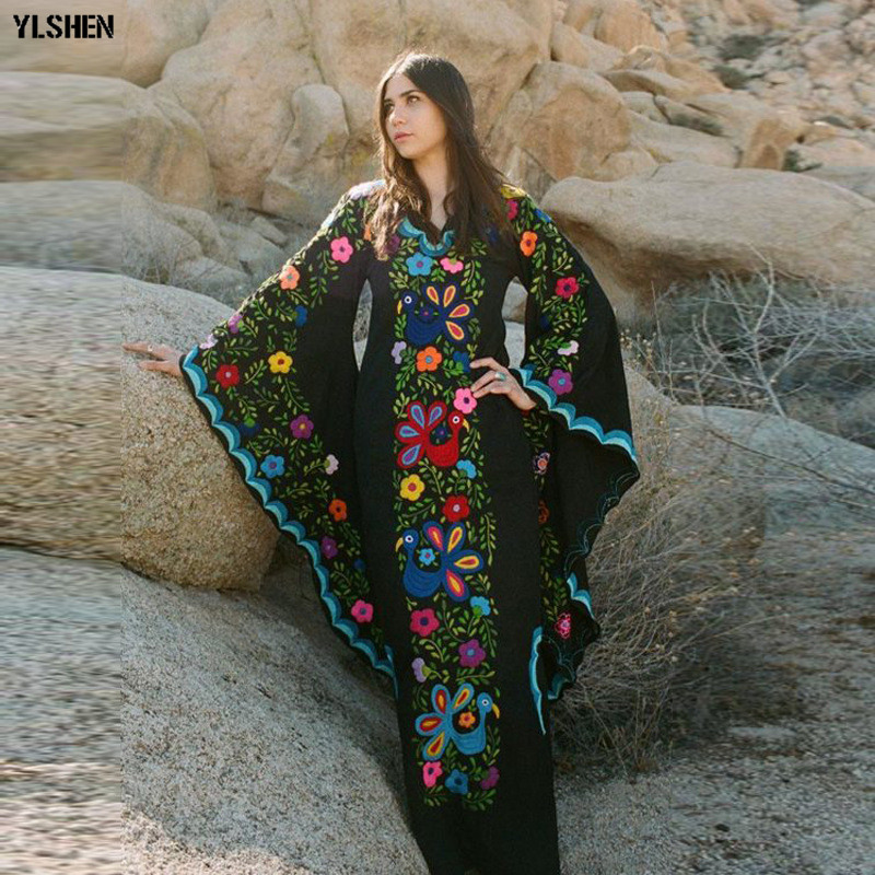 Autumn African Dresses For Women 2019 News Fashion Robe Long Dress Floral Print Bazin Vestidos Dashiki Party African Clothes