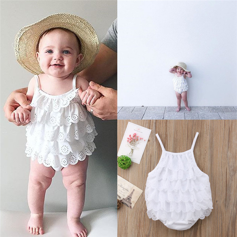Pudcoco 2020 Sweet Summer Newborn Baby Girl Clothes Bodysuits White Cotton Lace Floral Hole Leaf Bodysuits Outfits
