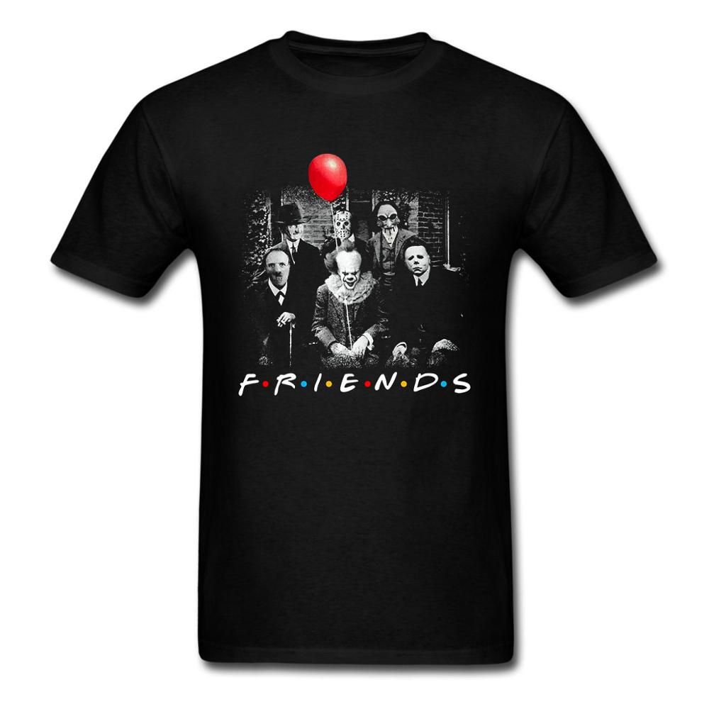 Horror Friends Pennywise Michael Myers Jason Voorhees Halloween USA SIZE Men 100% Cotton  Custom T shirt High Quality  t shirt-in T-Shirts from Men's Clothing