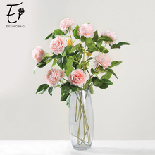 Erxiaobao Beautiful 3 Heads Peony Bud Artificial Flowers Red Pink White Blue Fake Silk Flower Plants for Wedding Home Decor