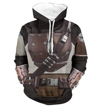 Mandalorian Hoodie Cosplay Costume 3D Print Pullover Swaetshirt for Adult and Kids (Kids-XS, Brown) недорого