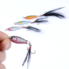 1pcs/ New hot sale Bionic VIB lead fish chicken feather metal sequins 3cm/6g Artificial 3D eyes Long shot mini sequinsSquat lure
