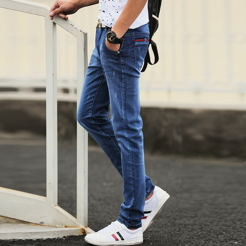 Spring And Autumn New Style Entity Teenager Korean-style Slim Fit Tight-Fit Jeans Men Casual Versatile Long Pants