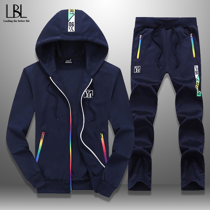 Slim Tracksuits Men Spring Autumn Zipper Hoodie Sweatsuits Streetwear Hooded Sweatshirts Sweartpants Two Piece Mens Sets 2020
