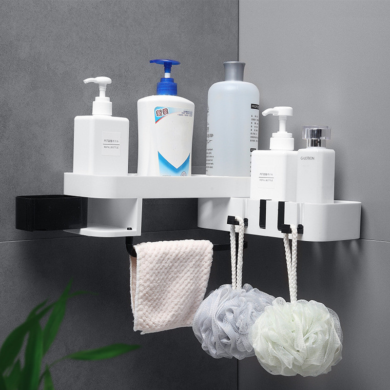 NEW!! Corner Shower Shelf Bathroom Shelf Storage Shampoo Holder Kitchen Storage Rack Organizer Rotation Wall Shelf Shower Caddy image