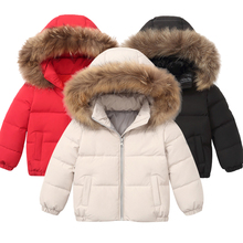 Kids boys Girls Jacket Winter Coat Warm Down Cotton jacket Large fur collar white duck down