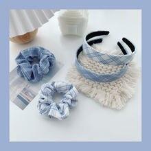 Azul Laço de Cabelo Corda Cabeça Retro Grande Intestino Intestino grosso Círculo Francês Hairpin Headband Cocar Coreano Acessórios Para o Cabelo