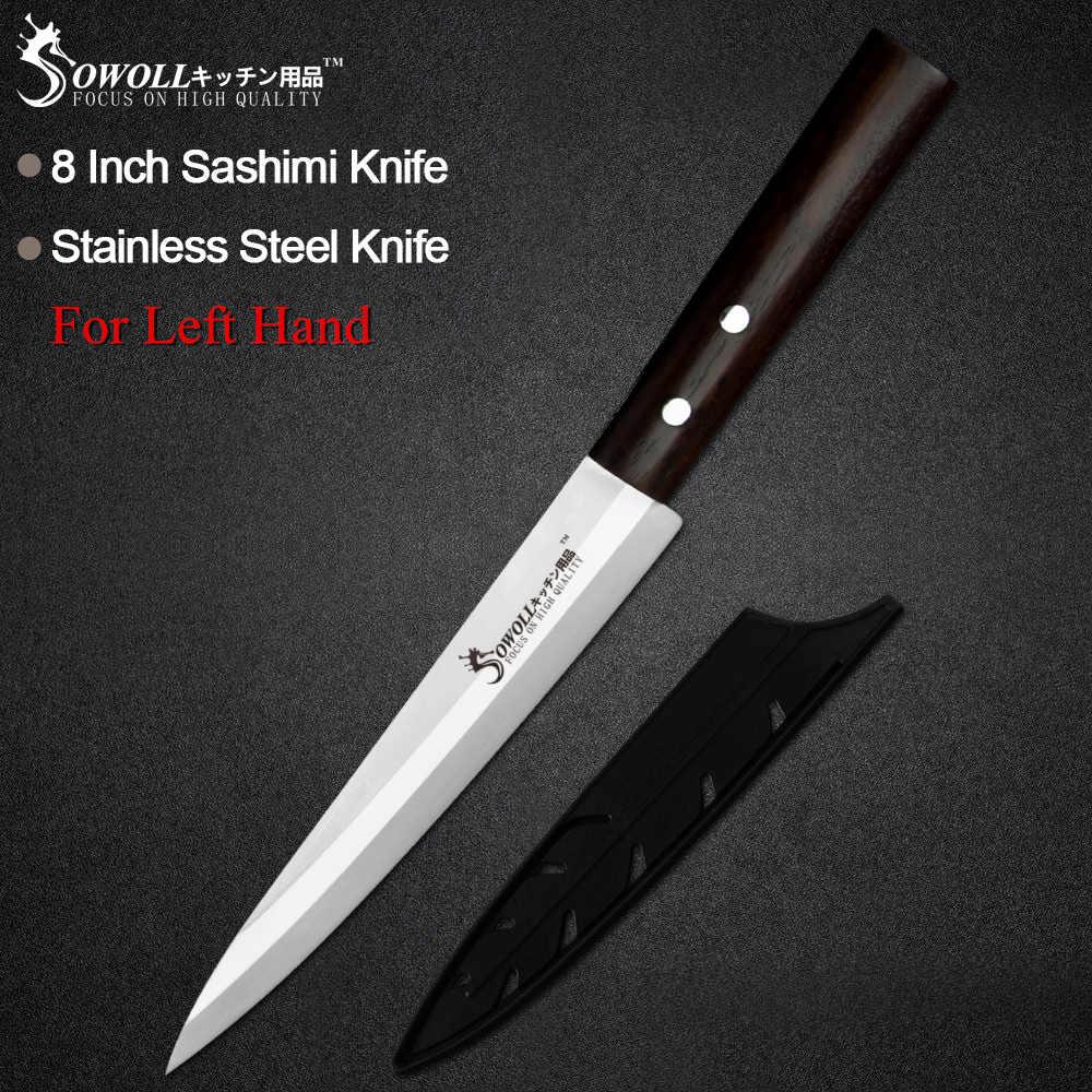 Sowoll Küche Edelstahl Messer Hohe Carbon Scharfe Klinge Farbe Holz Griff Sashimi Messer Fleisch Sushi Fisch Links Rechts Hand