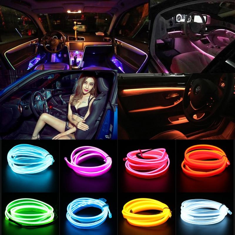 Car Styling 3M Garland EL Wire Rope Tube Line Flexible Neon Light  Car Interior Lighting LED Strip Decoration USB Cigarette Driv