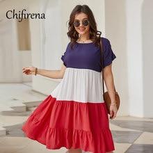 Chifirena plus size verão vestido feminino manga curta retalhos vestidos shirring tamanho grande vestidos de festa elegante femme