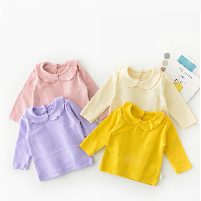 Soft breathable newborn baby girls blouse Spring autumn cotton long sleeve kids petal collar shirt for girls clothing tops child