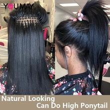 YouMay – extensions de cheveux naturels lisses, extensions de cheveux humains vierges en vrac, Microlinks I Tip, pour femmes noires, lots de 1, 2 et 3, 100 grammes
