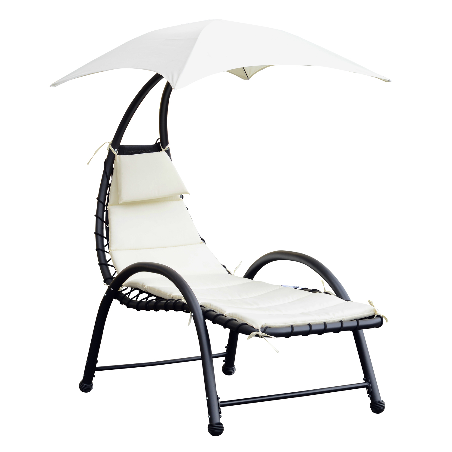 Outsunny Lounger Chair Upholstered Chaise Longue Luxury Baby Sundress 195 × 100 × 202 Cm Cream