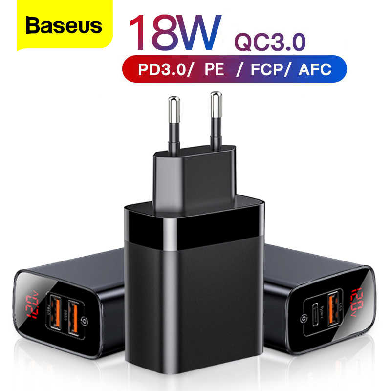 Baseus Digitale Display Quick Charge 3.0 Usb Charger 18W Pd 3.0 Fast Charger Voor Iphone 11 Pro Oplader Mobiele telefoon Usb C Lader