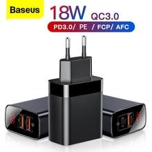 Baseus pantalla Digital carga rápida 3,0 cargador USB 18W PD 3,0 cargador rápido para iPhone 11 Pro cargador de teléfono móvil cargador USB C