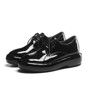 Image 5 - Lenkisen hot catwalk genuine leather round toe thick bottom lace up solid basic beauty lady fashion women vulcanized shoes L10