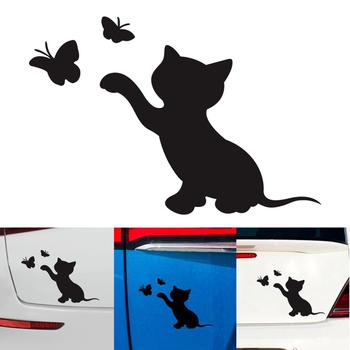 NEW Cat Butterfly Fashion Decor Car Sticker Vinyl Decal Car Sticker Decal Bumper Decorative Accessories Wholesale Quick Delivery image